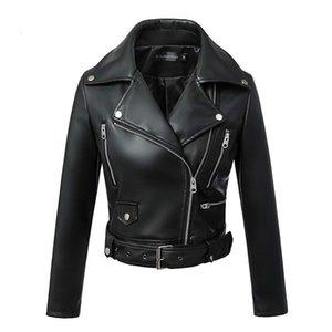 Pelle Manley Arty Donna Autunno Inverno Nero Faux cappotto Giacche Zipper base Turn-down Collar motore Chiodo con cintura 2020