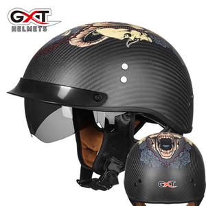 Fibra di carbonio GXT del casco della motocicletta del motociclo Retro mezza annata corsa Caschi Motocicleta Capacete Casco Casque Moto