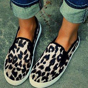 PUIMENTIUA Kadın Flats Ayakkabı İlkbahar 2020 Leopard Baskı vulcanize Ayakkabı Casual Sneaker Kayma-Işık Bayanlar Kadın Loafer