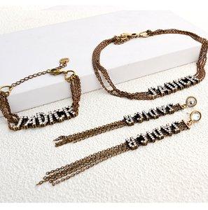 famille D lettre pleine de diamants boucles d'oreilles pompon femme tempérament chaîne multi-couche choker Internet célébrité bracelet collier clavicule