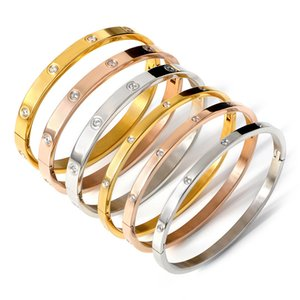 Hot Vente Full Diamond et Lovers diamant Bracelet avec fermoir caché 6/4 mm Titane Acier Pull intérieur Bracelet Sand femmes