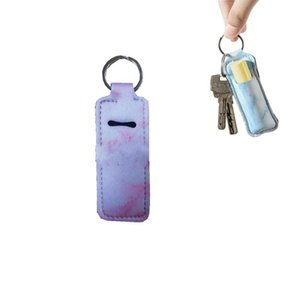 Portable Chapstick Holder Keychain Marble Pattern Neoprene Lipstick Cover Keyring Women Lip Sleeve Key Buckle For Party Favors 1 68ny E19