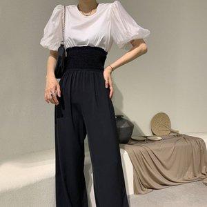 xNwQr wlTMM Z.A Damenhosen 20202 runde neue Sommer Hals Blase Hülse T-Shirt + hohe loses breites Bein lässig T-Shirt beiläufige Hosen Kleidung tw