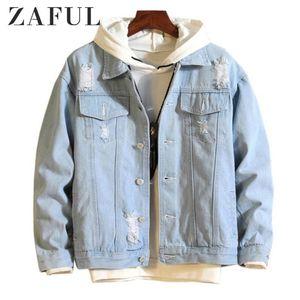 ZAFUL Jean capas de las chaquetas de los hombres desmontable Destruye lavado de prendas de vestir exteriores 2020 Hip invierno Bombardero moda de los hombres de moda de la chaqueta de dril de algodón rasgado