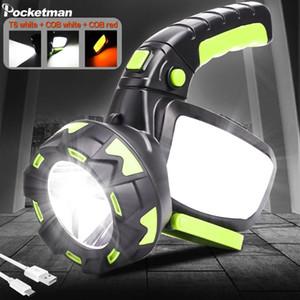 500m Uzun Mesafe Projektör 10000LM Kamp Lambası LED Torch 100W Işık acil taşınabilir silah ışık