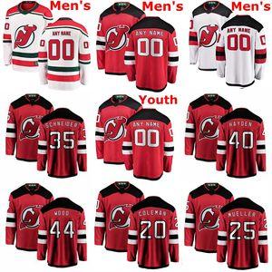 New Jersey Devils Jerseys Cory Schneider Jersey John Hayden Miles Madeira Kyle Palmieri Egor Yakovlev Red Hockey Branco camisas personalizadas costurado