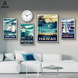 Урожай Нью-Йорк Aloha Hawaii ландшафтной Печать Картина на холст Плакаты Wall Art Pictures Decor для гостиной Спальни
