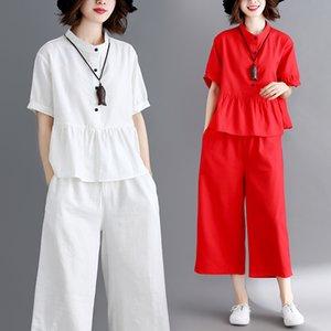 # 0828 blanc rouge Chemise à col court stand manches fendues Joint Volants Haut et large Leg Pants Casual 2 pièces Tenues pour les femmes