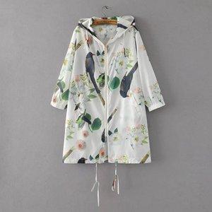 9958 flor pájaro encapuchado flores y pájaros de protección solar ropa de aves D3117 9958 flor impresa con capucha flores y pájaros pri protección solar