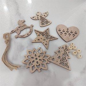 Pendentif en bois de Noël Ampoule Décoration creux flocon de neige Rocking Horse Star Angel Love Arbre de Noël 6pcs / lot D83105