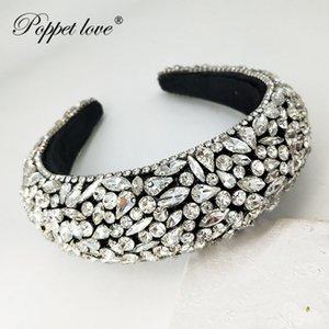 Big Velvet Haarbänder Sponge Krone, Kopf Kette Handgemachte Hairhoop für Frauen, Diademe und Kronen Thick Stirnband für Girlsspecia Y200807