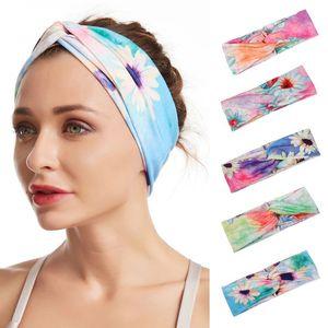 Boho Daisy Цветочные печати стяжкой Красочные Tie-Dye Спорт Twist трихонодоз диапазона X7YA