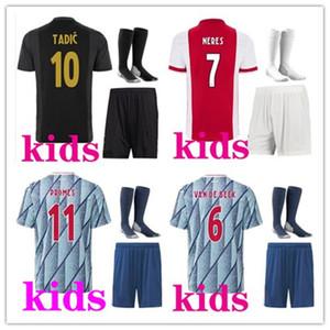 2021 Ajax FC трикотажных изделий футбола дома дети наборов 20/21 Настроенные # 7 NERES # 9 Huntelaar # 10 Тадич # 11 ПроМеса # 22 ZIYECH футбол рубашки