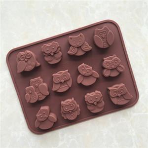 1 pcs 12 style hibou gâteau de silicone gâteau de biscuits chocolat chocolat muffin savon moule cuisson de cuisson mignon hibou moule