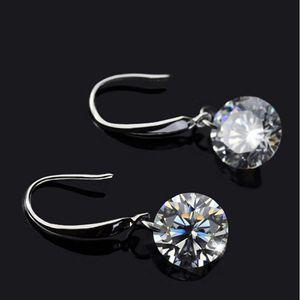 925 Sterling Silver Woman Cubic Zirconia Drop Earrings Shiny Rhinestone Crystal A Zircon CZ Earrings style Eardrop
