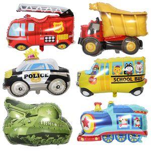 아이스크림 카트 알루미늄 자동차 장난감 풍선 트랙터 불도저 소방차 구급차 학교 버스 교통 파티 호일 풍선