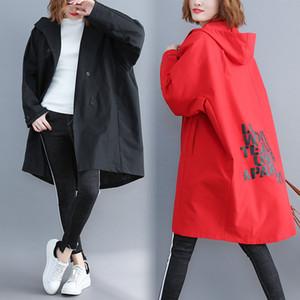 ربيع 2020 حجم طريقة المرأة خندق معطف جديد الكورية فضفاض مقنع منتصف فترة طويلة المعطف الأسود الأحمر مصدات أنثى الملابس J96