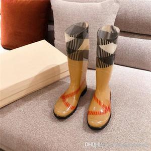 Señora coincidencia de color de tela escocesa de las botas circulares media cabeza, desgaste - resistente y no - suelas de goma antideslizante botas de lluvia bajo el talón de embalaje original