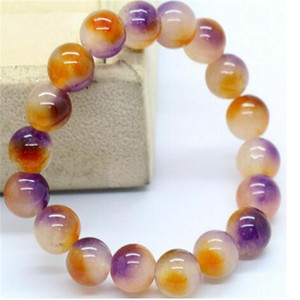 "Bracelet extensible perles de pierre gemme jade multicolore mode de 10mm 7.5"""