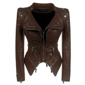 LANMREM High Street Double-Layer-Kragen-Schlange-Druck-Mantel für Frauen Rivet Zipper-Jacke kurz Stil dünne weibliche Drucken Mantel YJ623