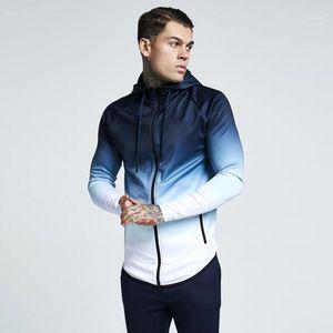 Hop Hoodie Mens 3D Hoodies Zipper Casual Tracksuit Pocket Hooded Sweatshirt Men 2020 Gradient Color Streetwear Hip