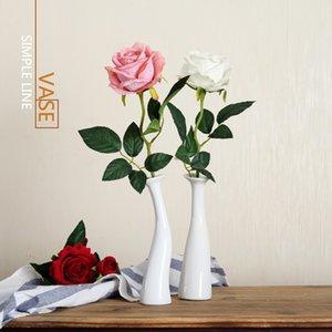 Art Ceramic White Vase Single Rose вазочке Простой цветок Поддельные цветок Гостиная Стол Стол Декор Творческий орнамент J