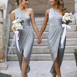 New Cheap Short Silver Bridesmaid Dresses One Shoulder Sleeveless Front Split High Low Length A Line Wedding Guest Gowns Maid Of Honor Dress