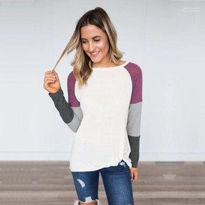 Тис Дизайнер Щитовые женщина с длинным рукавом Tshirt Весна Осень Повседневная Donna ткань Crew Neck вскользь