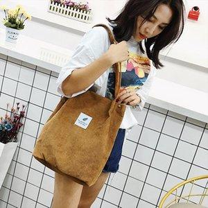 2019 Womens Bags Corduroy Totes Bag Women Shoulder Handbags Big Capacity Shopping Bags Casual Solid Color Shopper Beach Bag