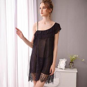 NR15Q ZvhGK Lace sem mangas pijamas roupas de casa W suspender nightdress das mulheres sexy lingerie casa de estilo palácio bridal sensuais pijamas das mulheres