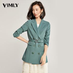 Casual Vimly Mujeres sólido elegante de la chaqueta del invierno del otoño de oficina con cinturón Señora de vestir exteriores femenina Las mujeres Double-Breasted Botón Blazer