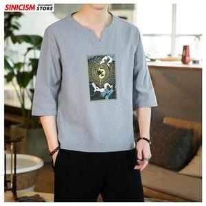 Sinisizm Stil T Pamuk Keten Baskılı Erkek Giysileri Gömlek 2020 Yaz Casual Erkekler Gömlek T-store T-shirt Çinli Erkek Pluse Boyutu WCQSN