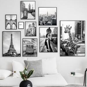 Paris, London City Zürafa Seyahat Nordic Posterler Ve Baskılar Duvar Resimleri İçin Salon Dekoru Boyama Wall Art Canvas Alıntılar