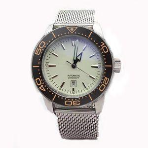Lujo Nueva Negro Azul Dial mecánico automático relojes de los hombres de acero inoxidable de plata de los hombres correa de pulsera de relojes 1884 24 Número