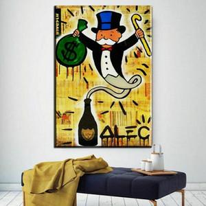 Alec Monopoly Dom Perignon Genius Decoración de la pared pintada a mano de la impresión de HD pintura al óleo sobre lienzo arte de la pared de la lona representa 200814
