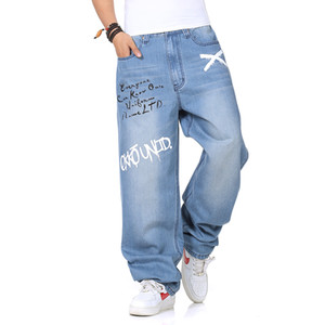 VXO Mens Denim jeans Man loose jeans hip hop skateboard baggy pants denim pants hip hop men Graffiti