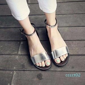 QWEDF argent Sandales plates Sandales solides Femmes souple plage Chaussures d'été Chaussons Argent Sandalias Mujer Femme Sandale A8-170 CT02