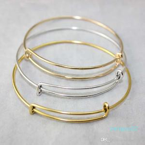 Wholesale -expandable wire bangle bracelets DIY jewelry pick size cable wire bangle adjustable charm bracelet accessories wholesale