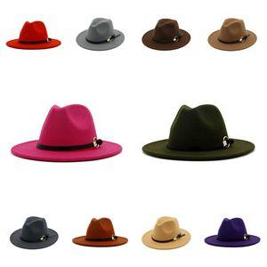 Fedora Hat hommes Gentleman Femmes Chapeaux Brim Eglise Jazz Large Cap plat large bande Brim chapeaux Jazz Party Hats T2C5270