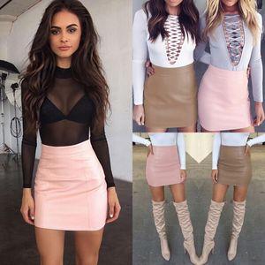 7pISw FalVg primavera e verão curto Pu mini-imitação de couro minissaia saia nova alça mini-tight