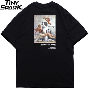 2020 Men Hip Hop T Shirt Angel Cat Funny T-Shirt Streetwear Deutsch Letter Tshirts Summer Short Sleeve Tops Tees Cotton Spring 0921