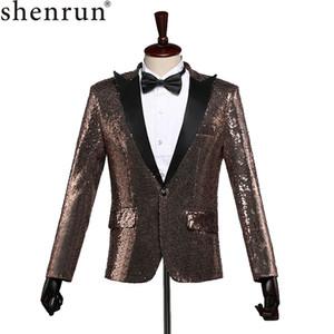 Shenrun Moda Uomo Slim Fit Giacca casual Blazer Magro Paillettes Paillette sposa sposo Cantante Costume di scena Plus Size