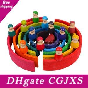 Brinquedos Bebê Grande arco-íris Stacker Brinquedos de madeira para miúdos criativa do arco-íris Building Blocks Montessori Educacional Toy Crianças