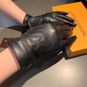 Guantes negros de diseño con los guantes de cuero de la caja, además de terciopelo de las mujeres de ciclo al aire Drive Mantenga guantes calientes de talle bajo con cinco dedos