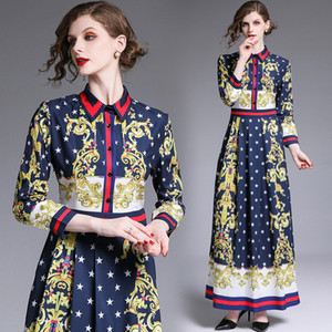 2020 Autumn Runway Barocco Floral Printed Pleated Maxi Dress Elegant Women Ladies Casual Office Button Long Sleeve Shirt Party Prom Dresses
