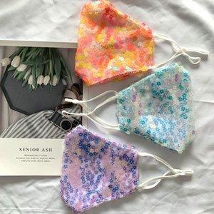 La flor del ciruelo de lentejuelas máscara de verano a prueba de polvo a prueba de sol personalizada lavable tela de malla de encaje EE.UU.