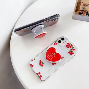 Luxury Love Heart Stand Holder Phone Case For iPhone 11Pro MAX Case SE XS MAX XR X 7 8 Plus Cute Cherry Transparent Soft Cover
