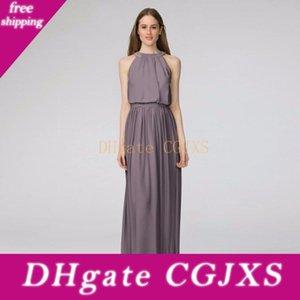2019 Neu! Peyton Chiffon Brautjungfer Kleid mit Perlenschnur Halter Ausschnitt W2446mdb Hochzeit Kleid Abendkleid formale Kleider