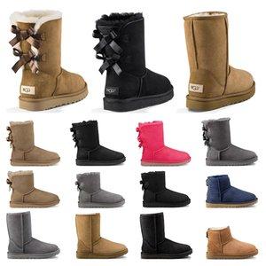 Nuevas botas de diseñador  mujer niña botas de nieve clásicas bowtie tobillo bota de piel de arco corto para invierno negro Castaño moda tamaño 36-41