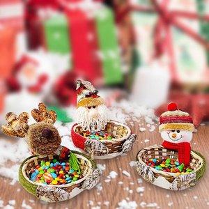 Christmas Candy Storage Basket Weihnachten Weihnachtsmann Schneemann Elk Bambuskorb Weihnachtsdeko Festliche Zubehör für zu Hause